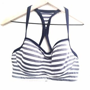 Victoria's Secret Blue Sparkle Stripe Sports Bra